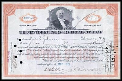 1929 New York Central Railroad 7 Share Stock Cert ORANGE  F+ Condition WYSIWYG