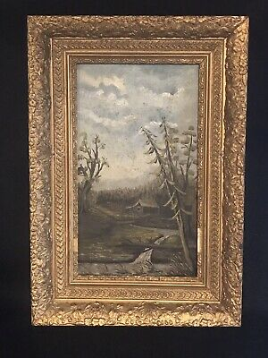 Antique Folk Oil Painting Of A Cabin In Gilt Frame Unsigned