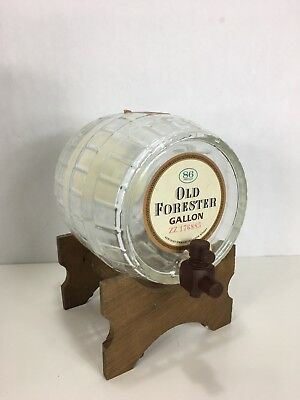 Antique Vintage  Barrel Glass Decanter on Stand Whiskey Old Forester Gallon Rare