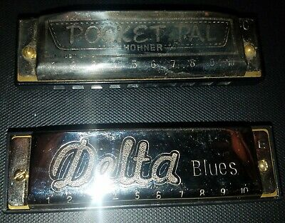 Vintage Hohner Pocket Pal(C) and Delta Blues(E) Harmonicas nice used condition!