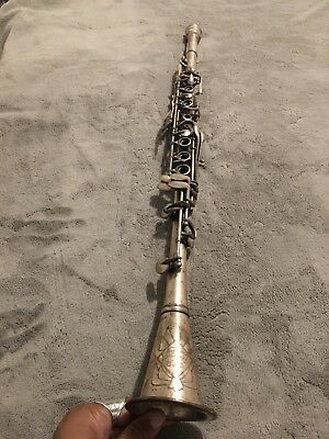Vintage Silver Clarinet Varsity USA NN436 Antique Estate Find Instrument