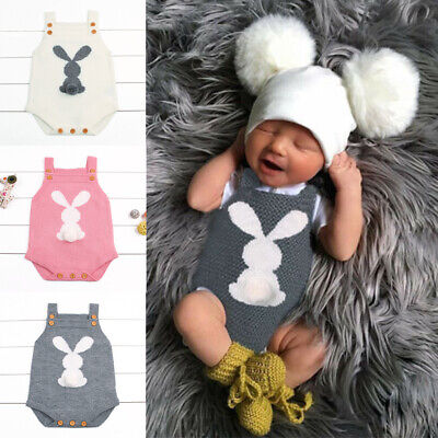 Infant Newborn Baby Boy Girls Bunny Knitting Wool Romper Bodysuit JumpsuitOutfit