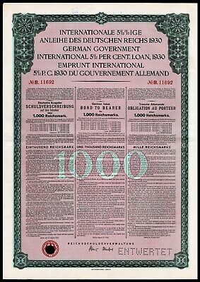 German First World War Reparations Bond 1930 Young Loan 1000 Reichsmarks VF+