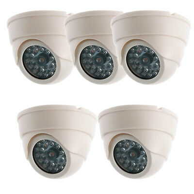 5x Dummy Dome Fake Security Camera CCTV False Flashing Red DEL Light In/ Outdoor