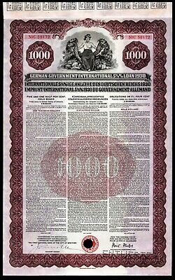 German First World War Reparations Bond 1930 Young Loan US $1000 Gold Coin VF+