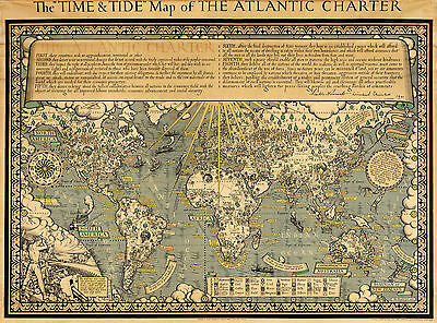 Vintage Time and Tide Map The Atlantic Charter Wall Poster Print History Decor