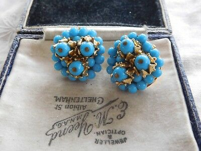Gorgeous Vintage1950s West Germany Blue Glass Clip On Earrings