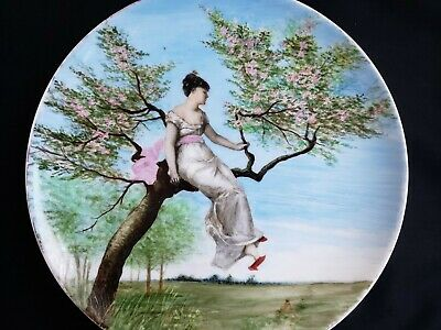 """Antique Haviland H&Co Limoges Porcelain Hand Painted Plate 11"""" D Lady in a Tree"""