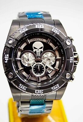 Invicta Speedway Viper Marvel PUNISHER Chronograph Black Ion Plated SS 26862