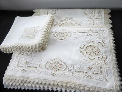 ANTIQUE ITALIAN POINT DE VENISE LACE HAND EMBROIDERY LINEN PLACEMAT SET 25pc
