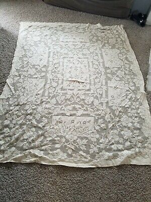 VINTAGE IVORY LACE TABLECLOTH - OLD!! FROM THE 50'S!! - RECTANGULAR SIZE - 80x60