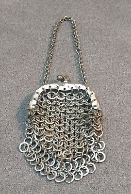 Antique Victorian French Doll Child Chatelaine Mesh Coin Purse 1800s