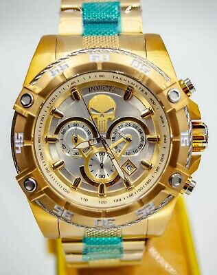 NEW Invicta Marvel 52mm Speedway Viper Limited Ed PUNISHER Gold Plated SS Watch