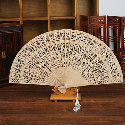 Chinese Folding Bamboo Original Wooden Carved Hand Fan fit Wedding Party UK