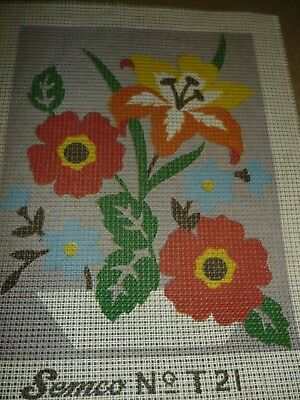 "Semco - ""flowers"" - Tapestry Canvas - New"