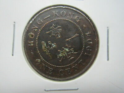 1904 King Edward VII Hong Kong One Cent 8 pearls King Emperor In Coin Flip