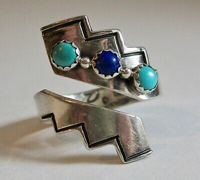 Vintage Joe Delgarito Navajo Sterling Silver Turquoise & Lapis Bypass Ring S8.25