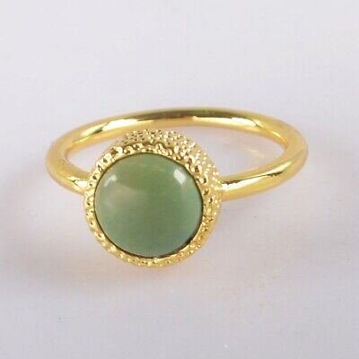 Size 5.5 Natural Genuine Turquoise Ring Gold Plated T075367
