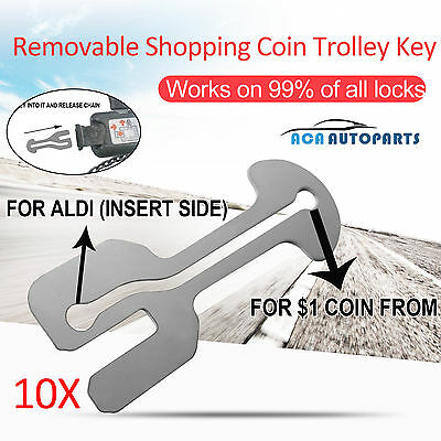 10 Stainless Removable Shopping Trolley Token Coin Key ALDI WOOLWORTHS Unlocker