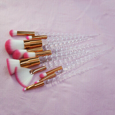 10pcs Beauty Crystal Makeup Brushes Face Powder Eyeshadow Brow Unicorn Brush Set