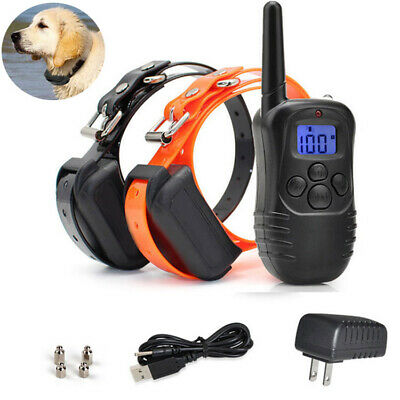 2 in 1Dog Training Electric Collar Rechargeable Remote Waterproof 330 Yards