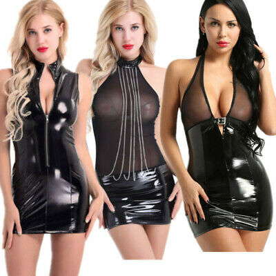 Sexy Women's Deep-V Leather Wet Look Bodycon Clubwear Cocktail Party Mini Dress