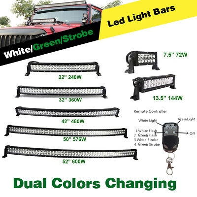 """7"""" 14 22 32 42 50 52inch Straight Curved Led Light Bar Driving/Hunting/Fishing"""
