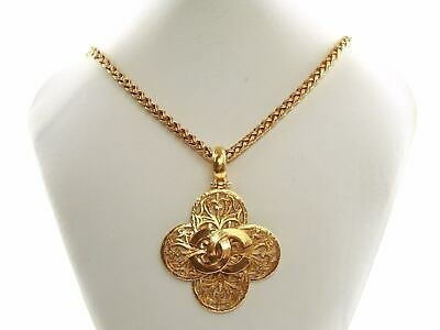 cb84ad5486920e Authentic Chanel Vintage 24K Gold Plated Filigree CC Cross Long Necklace