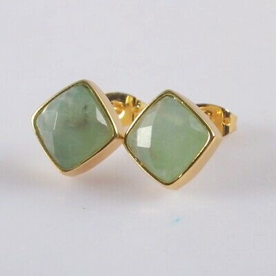 10mm Natural Chrysoprase Faceted Bezel Stud Earrings Gold Plated T075407