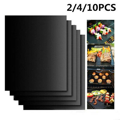 Reusable Cooking Mats Barbecue BBQ Grill Pad Set Non Stick Oven Liner Sheet Tool