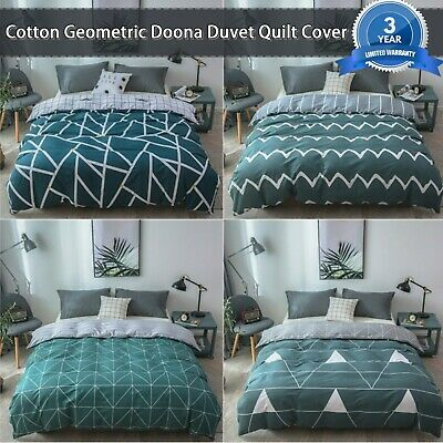 Green Cotton Geometric Doona Duvet Quilt Cover Set King/Queen/Double Size Bed