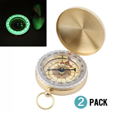 2Pcs Vintage Brass Noctilucent Pocket Compass Hiking Camping Watch Style Antique