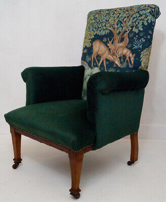 Antique 19thC English Armchair - Morris & Co. 'The Brook' fabric