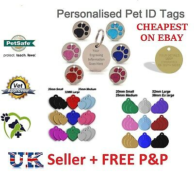Dog Cat Pet Tag Personalised Engraved Collar ID Tags 25mm Glitter Paw Print