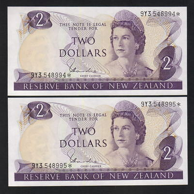 New Zealand  P-164d. (1977-81) $2 Star Note.. Hardie - Type 1. UNC - CONSEC Pair