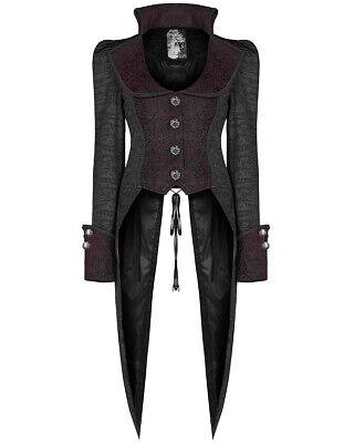 Punk Rave Femmes Gothique Queue de Pie Veste Noir Rouge Steampunk Pirate 9eacf4454c0