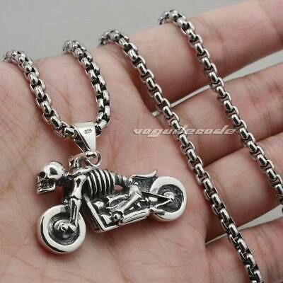 925 Sterling Silver Motorcycle Skull Mens Biker Gothic Pendant Necklace 8B017B