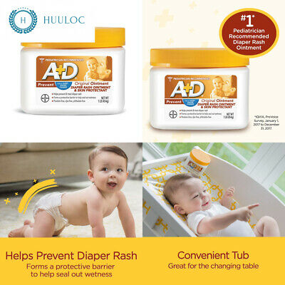 A+D Original Diaper Rash Ointment, Skin Protectant With Lanolin and...