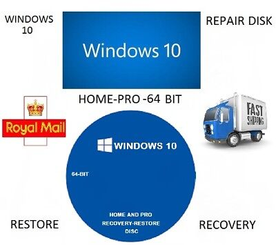 Windows 10 Repair Recovery Re-Install Disk /Home-Pro 64