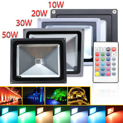 10/20/30/50W RGB LED Flood light Outdoor Garden Waterproof Remote Color Changing