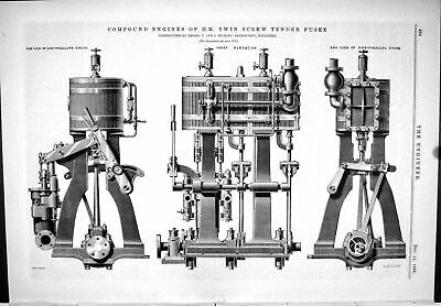 Old Print 1888 Compound Engine Twin Screw Tender Fusee Hosking Machinery 19th