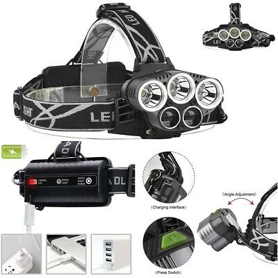 Tactical 90000LM 5X T6 LED Headlamp USB Rechargeable Headlight Hiking Lamp Torch