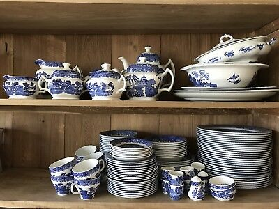 Rare large antique set of willow dinnerware, Wood and Sons, Churchill England