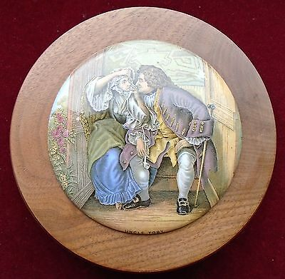OLD PRATTWARE WOOD MOUNTED POT LID No.328 ''UNCLE TOBY '' c.1860