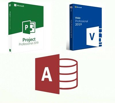 Set Project, Visio, Access 2019 Professionals Genuine keys + download gift CD MS