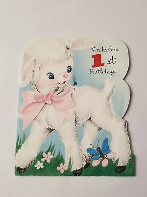 1950s vintage greeting card Happy Birthday Card Baby Lamb 1 Year Old 60e082d8eb8e