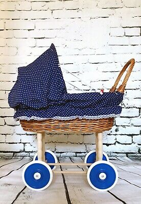 Organic Wicker Rattan Doll Pram In Navy Blue Pattern With Accessories - Handmade
