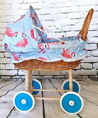 Vintage Style Wicker Rattan Dolls Pram In Flamingos Pattern With Accessories