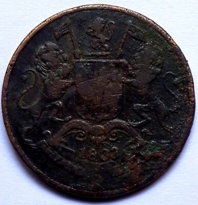 1833- 1 Quarter Anna ( Ah 1249 ) British East India Rare Copper Coin - India
