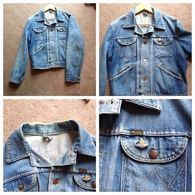 vintage Wrangler denim jacket patina Levis big E Lee cowboy biker Mod